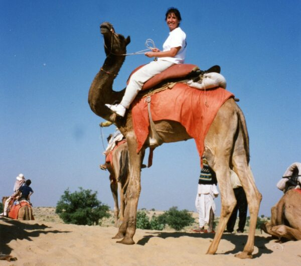 Margo ready to ride in the Thar Desert, Rajasthan, India. Courtesy of Andrew Meissner, reprinted with permission.